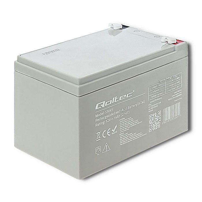 UPS aккумулятор Qoltec AGM Battery 12V 14Ah Max 210A