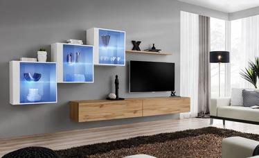 Dzīvojamās istabas mēbeļu komplekts ASM Switch XX, brūna/balta/ozola