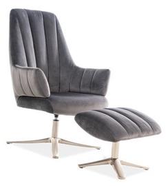 Atzveltnes krēsls Signal Meble Adams Velvet Grey, 72x75x101 cm