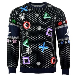 Licenced PlayStation Symbols Christmas Jumper Ugly Sweater Black XL