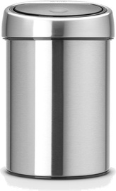 Brabantia Touch Bin 3l Matt Steel Fingerprint Proof