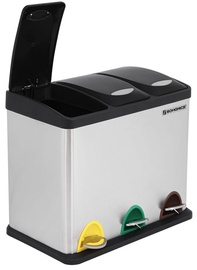 Songmics Recycling Bin with 3 Containers Black/Silver
