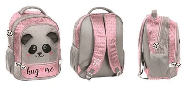 Paso Hug Me Panda School Backpack w/ Pencil Case & Shoe Bag Pink