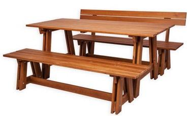 Āra mēbeļu komplekts Folkland Timber Riva, brūns, 6 sēdvietas