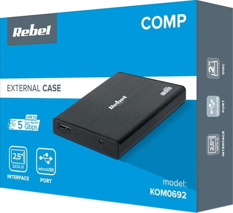Rebel HDD Enclosure Box USB 3.0 Black