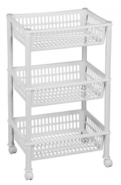 Plast Team Eco Trolley With 3 Baskets 39.4x29x16.5/68.5cm White