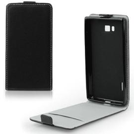 Forcell Flexi Slim Flip Alcatel C3 Vertical Case In Silicone Holder Black