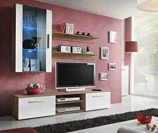 Dzīvojamās istabas mēbeļu komplekts ASM Galino E Plum/White Gloss