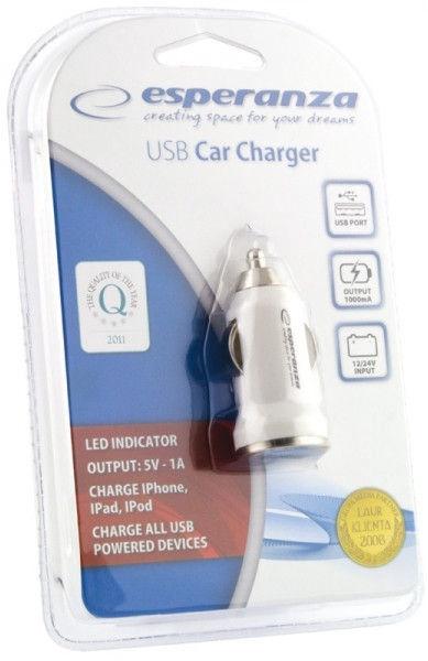 Esperanza Car Charger DC 12/24V USB 5V 1A
