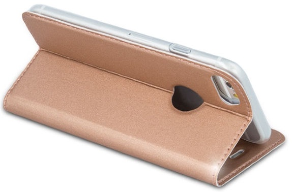 Blun Premium Smart Magnetic Fix Book Case For Huawei P10 Lite Rose Gold