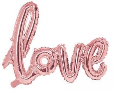 PartyDeco Folijas balons, 73 x 59 cm, rozā zelts / Love