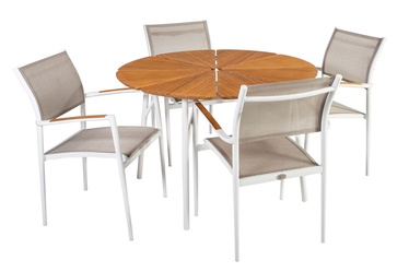 Home4you Greenwood Table And 4 Chairs Set White