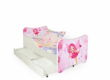 Детская кровать Halmar Happy Fairy White/Pink, 145x76 см