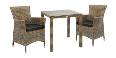Home4you Wicker Table And 2 Chair Set Cappucinno