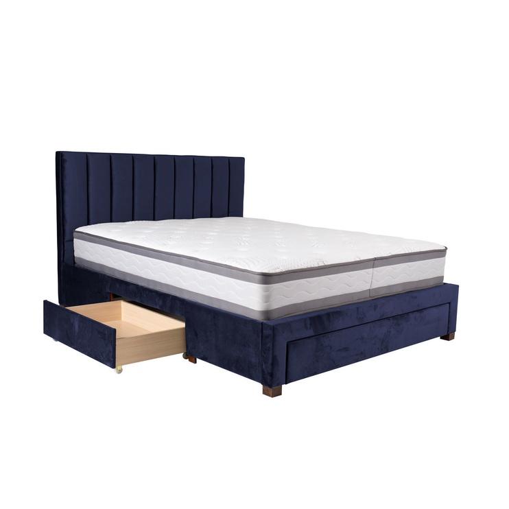 Gulta Home4you Grace Blue, ar matraci, 160 x 200 cm