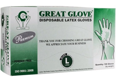 Great Glove Disposable Latex Gloves L 100pcs