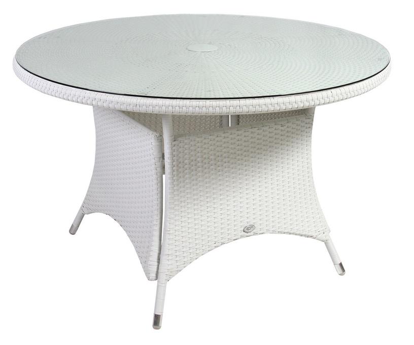 Садовый стол Home4you Wicker White, 123.5 x 123.5 x 74.5 см