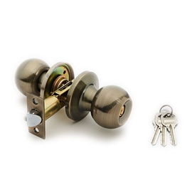 Domoletti Door Knob Lock 607 Ab Antique Brass 2Keys