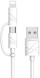 Usams U-Gee 2in1 Universal USB To Micro USB/Apple Lightning Cable 1m White