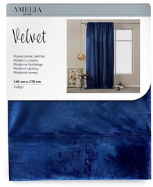 AmeliaHome Velvet Pleat Curtains Indigo 140x270cm