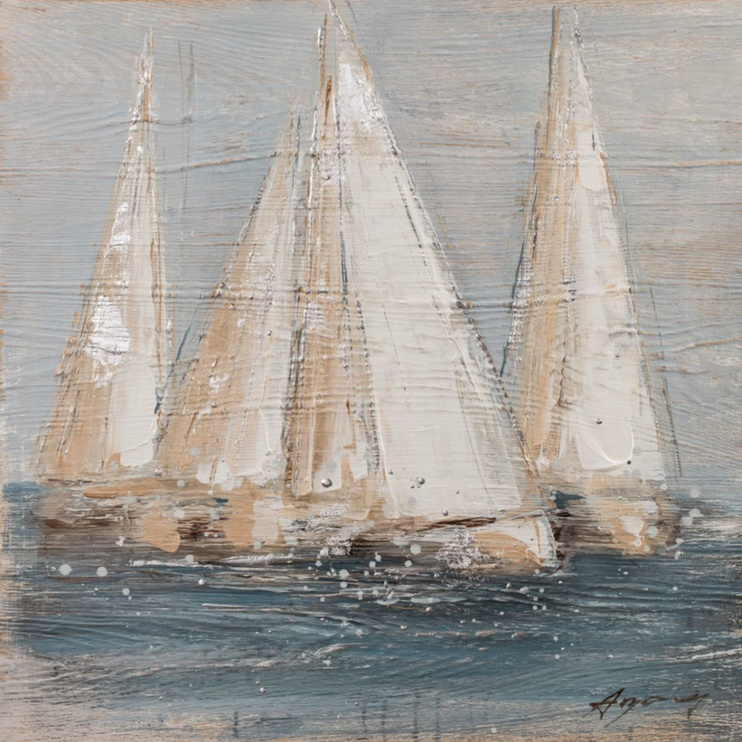 Home4you Oil Painting 60x60cm Sailing Boats