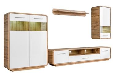 Dzīvojamās istabas mēbeļu komplekts Halmar Skanso, balta/ozola