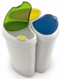 Āra atkritumu tvertne Kis, zila/balta/dzeltena/zaļa, 90 l