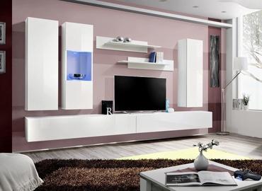 Dzīvojamās istabas mēbeļu komplekts ASM Fly E Horizontal Glass White/White Gloss