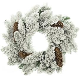 DecoKing Anne Christmas Wreath 50cm Snow/Pine Cone