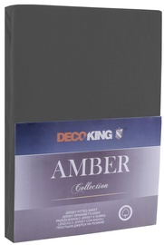 Простыня DecoKing Amber Dark Grey, 200x200 см, на резинке