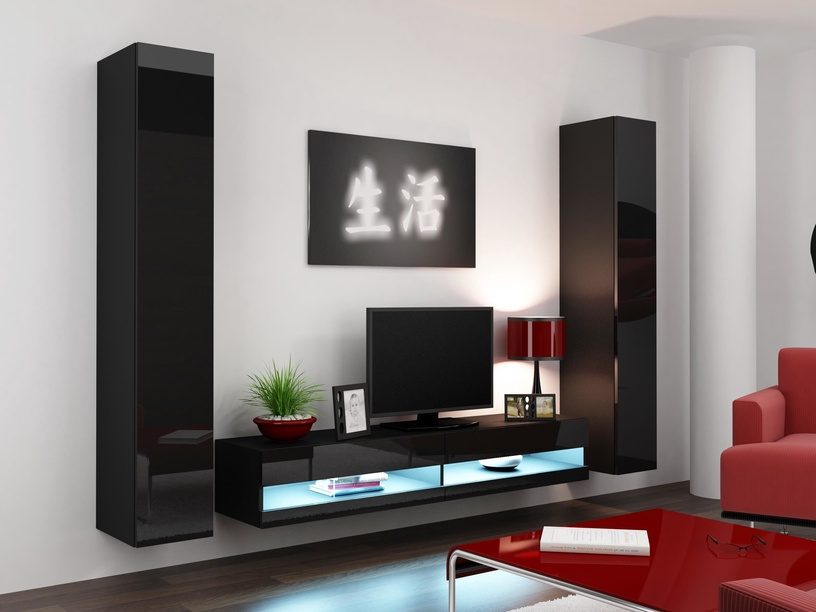 ТВ стол Cama Meble Vigo New 180, черный, 1800x300x400 мм