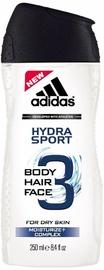 Dušas želeja Adidas 3in1 Hydra Sport, 250 ml