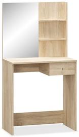 Столик-косметичка VLX Chipboard 244862, дубовый, 75x40x141 см, с зеркалом