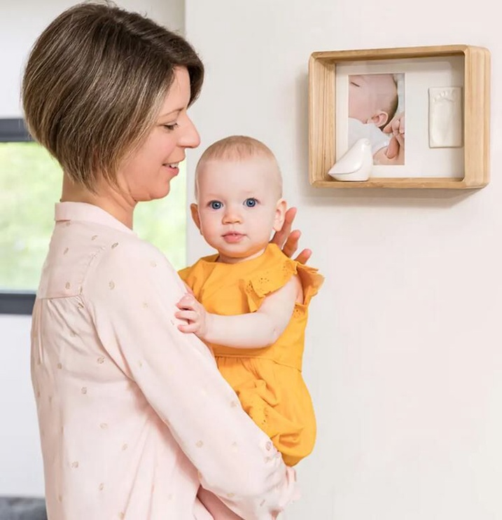 Komplekts roku / kāju zīmogu izveidei Baby Art Deep Frame Natural Wood
