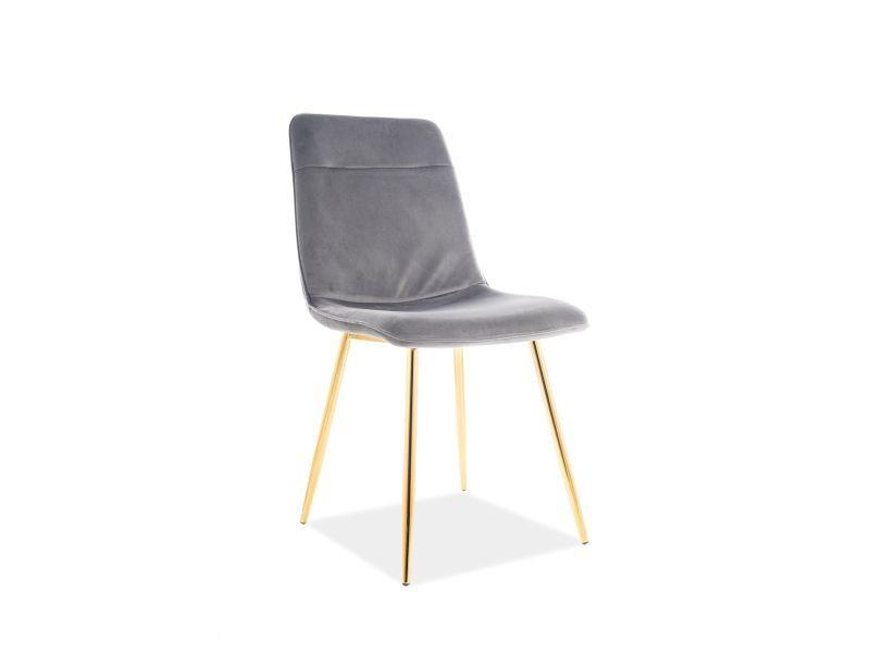Signal Meble Eros Velvet Chair Grey/Gold