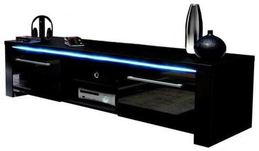 TV galds Vivaldi Meble Manhattan With LED Black/Black Gloss, 1400x422x400 mm