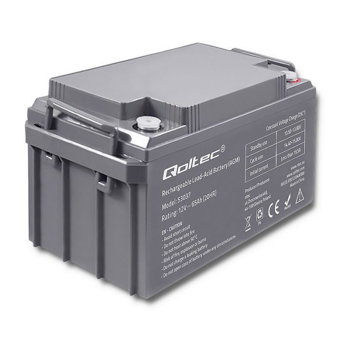 UPS aккумулятор Qoltec AGM Battery 12V 65Ah Max 780A