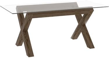 Pusdienu galds Home4you Turin 26922, caurspīdīga/ozola, 1800x900x750mm