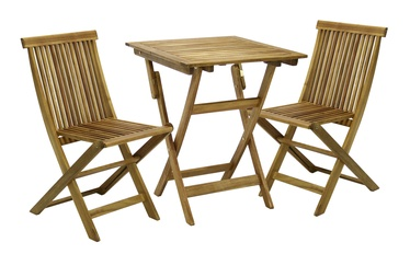 Home4you Finlay Table And 2 Chairs Set Acacia