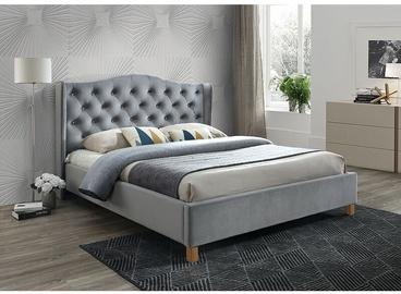 Кровать Signal Meble Scandinavian Aspen Velvet Gray, 216x158 см, с решеткой