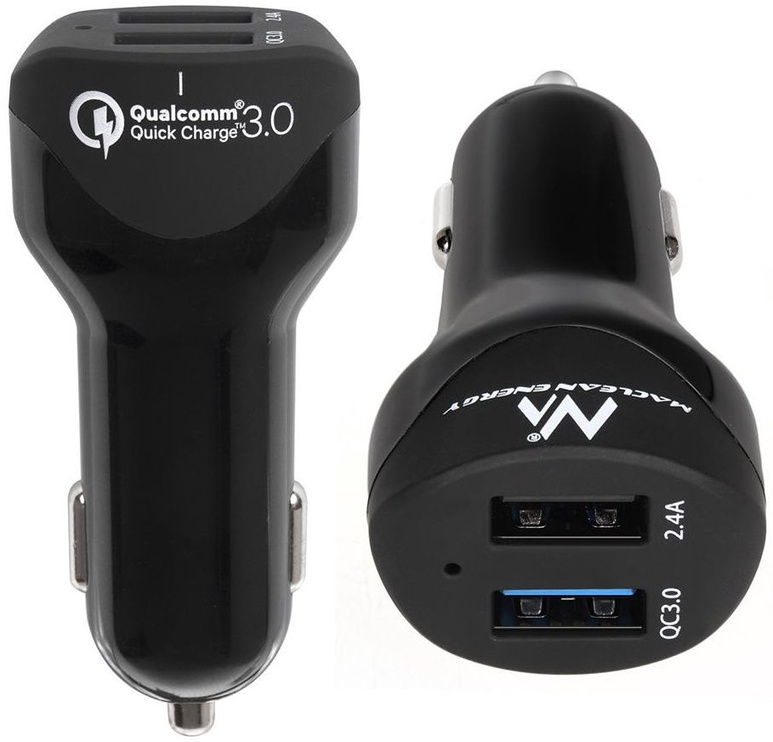 Maclean Dual USB Car Charger Qualcomm Quick Charge Black