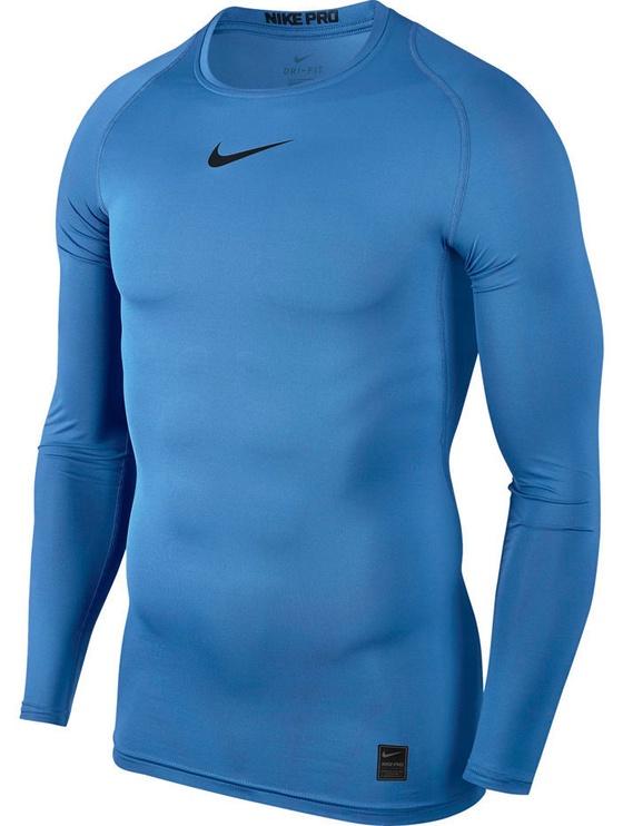 Nike Men's T-shirt Pro Top Compression LS 838077 412 Light Blue XL