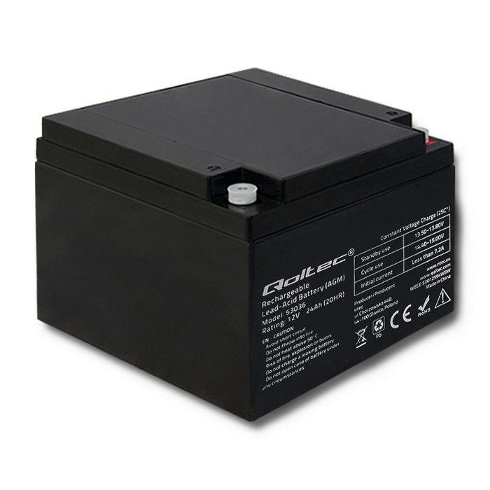 Qoltec AGM Battery 12V 24Ah Max 360A