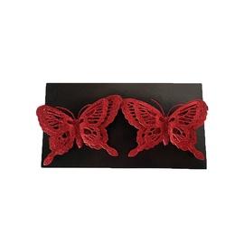 Ziemassvētku eglītes rotaļlieta Butterflies Red, 140 mm, 2 gab.