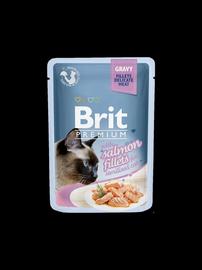 Влажный корм для кошек (консервы) Brit Premium Salmon Fillets In Gravy 85g