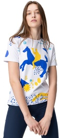 Audimas Womens Short Sleeve Tee White Blue Printed S
