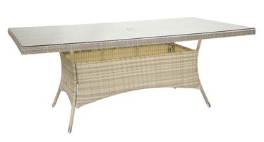 Dārza galds Home4you Wicker Beige, 200 x 100 x 74 cm