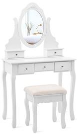 Столик-косметичка Songmics, белый, 80 см x 40 см x 140 см, с зеркалом