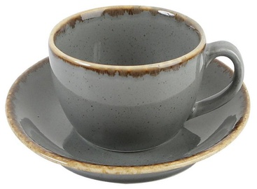 Porland Seasons Cup With Saucer 32cl Dark Grey