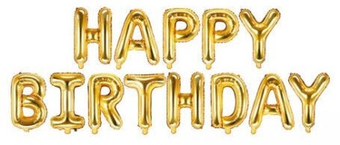 PartyDeco Folijas balons, 340 x 35 cm, zelta / Happy Birthday